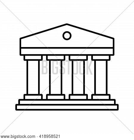 Classic Roman Columns Building Icon. Financial Institute, Bank, Museum, University Or Courthouse Sym