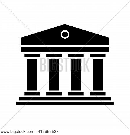 Government Or Courthouse Institute Building Icon. Classic Greek Columns Structure Symbol. Vector Ill