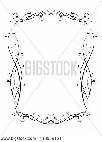 Curly Frame Of Weaving Grapes. Art Exquisite Ornament. Vector Image