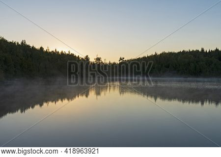 Morning Glow Before The Sunrise On Jenny Lake In The Boundary Waters In Minnesota