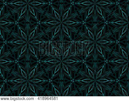 Teal Floral Pattern With Different Shades Giving 3d Effect In Black Background Line Repeat Motif Sea