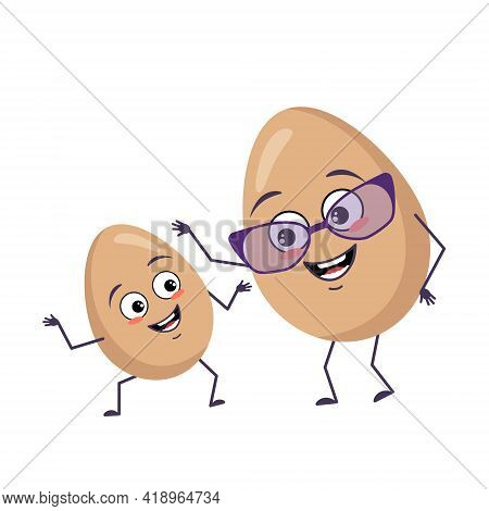 Cute Egg Character Funny Grandmother And Grandson With Emotions, Face, Arms And Legs. The Happy Or S
