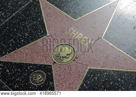 Los Angeles, Ca, Usa, 2.09.2020 - Shrek Star On Hollywood Walk Of Fame. Stars Of Famous People Or Mo