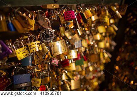 Paris, France, 1.11.2019 - Thousands Golden Love Locks On Pedestrian Bridge Ponts Des Arts. Paris -