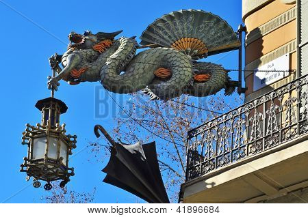 BARCELONA, SPAIN - JANUARY 25: Detail of Casa Bruno Cuadros or Casa dels Paraigues January 25, 2013 in Barcelona. This picturesque nineteenth century building is one of the attractions of La Rambla