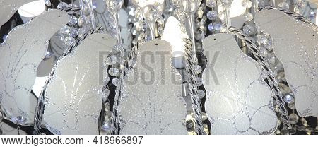 Chandelier With Luminous Bulbs And Decorative Petals