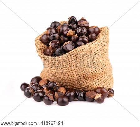 Guarana Seed In Bag, Isolated On White Background. Dietary Supplement Guarana, Caffeine Cource For E