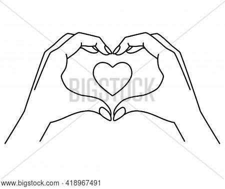 Hands Show Gesture - Heart With Heart Inside - Vector Linear Illustration For Coloring. Heart Sign S