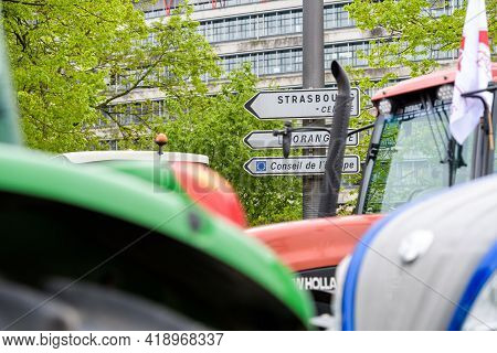 Strasbourg, France - April 30, 2021: European Court Of Human Rights With Farmer Protest In Front Of
