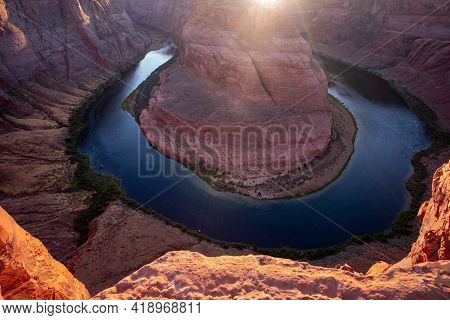 Horseshoe Band On Grand Canyon. Landscape View Point. Arizona Horseshoe Bend Of Colorado River In Gr