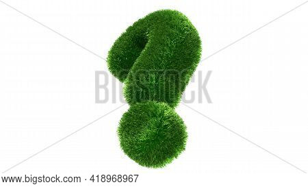 Question Mark Grass Font Isolated On White Background. Concept Of Grassed Question Symbol. Metaphor