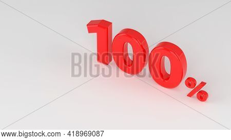 100 Percent Red Isolated On White Grey Background. 100% Off Discount Promotion Sale. Sales Concept.