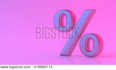 Glossy Purple Percent Sign With Neon Light Isolated On Pink Background. Seasonal Sales With Percent