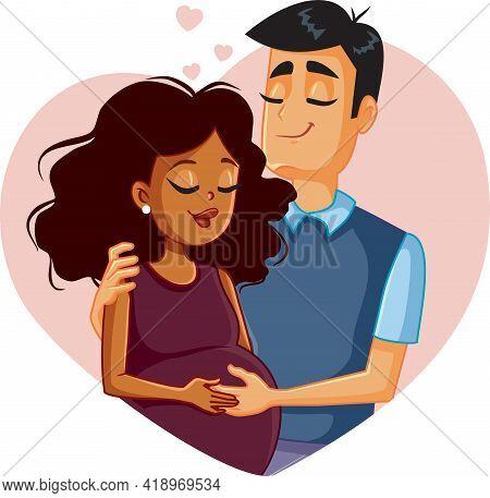 Interracial Couple Expecting A Baby Vector Illustration