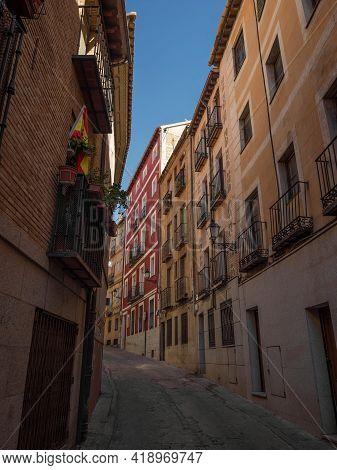 Old Rustic Mediterranean Traditional House Facade Wall Narrow Alley Lane Road Street In Toledo Casti