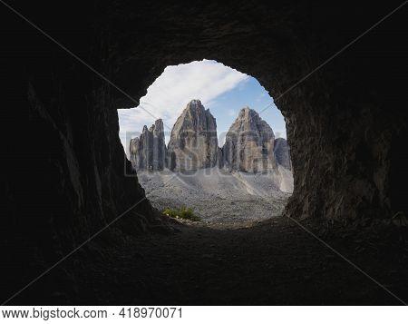 Cave Window View Of Tre Cime Di Lavaredo Peak Summit Alpine Mountain Panorama In Sexten Dolomites Be