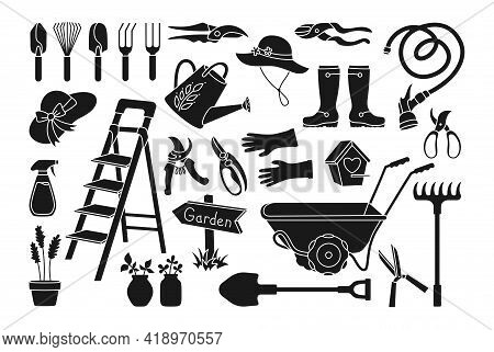 Garden Village Black Glyph Cartoon Set. Birdhouse, Rustic Stepladder. Rubber Boots, Rake And Gloves,