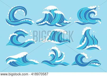 Sea Waves Blue Set. Ocean Water Wave Hand Drawn Aqua Design Element. Sketch Marine Symbol, Surfing L