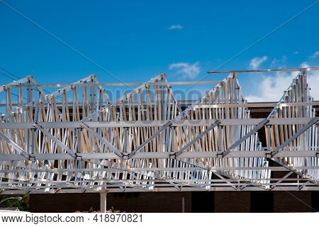 Installation Of Iron Rafters Unfinished House Steel