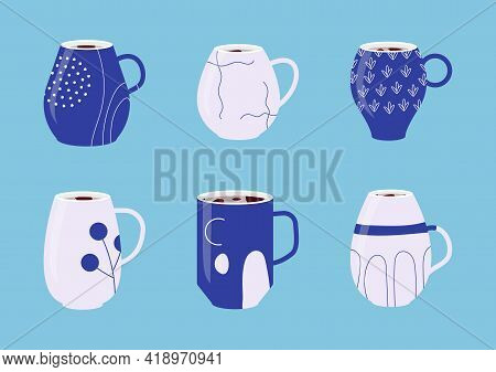 Collection Blue Porcelain Cups. Set Icons Of Mugs With Various Ornaments Filled With Drink, Hot Tea