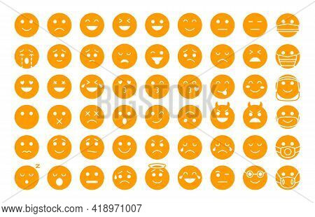 Emoji Face Yellow Silhouette Icons Set. Different Type Emoticon Smile Template Collection. Mood Or F