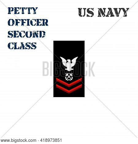 Realistic Vector Icon Of The Armband Chevron Of The Petty Officer Second Class Of The Us Navy