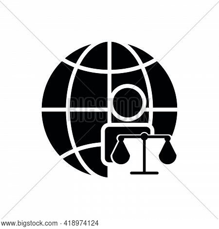 Earth And People Icon With Law. Law Abiding Day Icon. Editable Stroke. Design Template Vector
