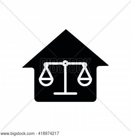 Home And Law Icon. Law Abiding Icon. Editable Stroke. Design Template Vector