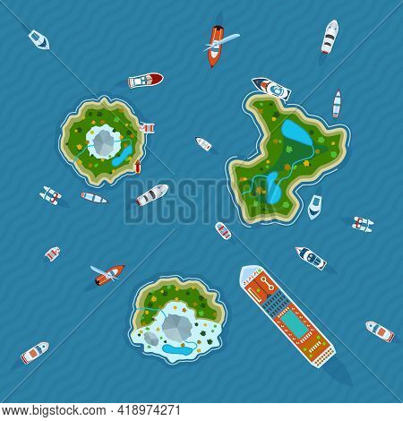 Various Ships And Motorboats Around Three Islands In The Ocean View  From Above Abstract Vector Illu