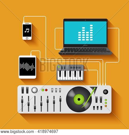 Dj Workspace With Audio Equipment And Music Technologies Vector Illustration