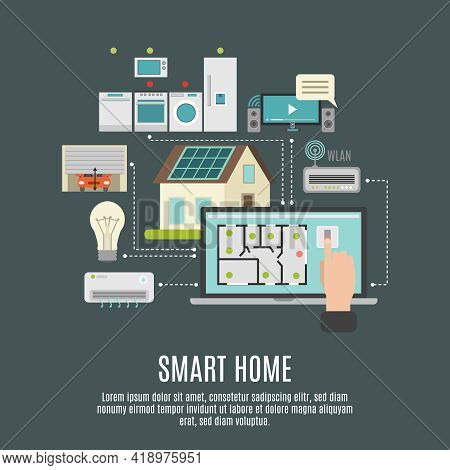 Smart House Iot Remote Computer Control Flexibility Reliability And Protection Systems Flat Backgrou