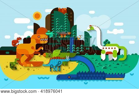 Dinosaur Flat Background With Predators In Prehistoric Landscape Vector Illustration