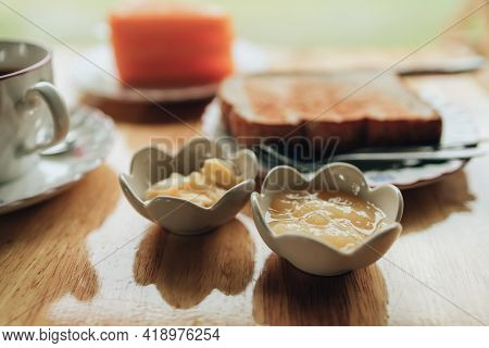 Pineapple Jam, Yellow Jam In Jam Cup. Dessert Concept.