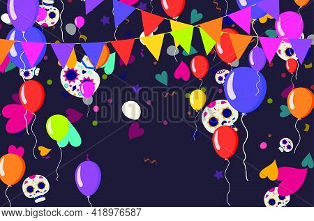 Party Cinco De Mayo Background And Colorful Balloons Vector Illustration For Greeting Card, Ad, Prom