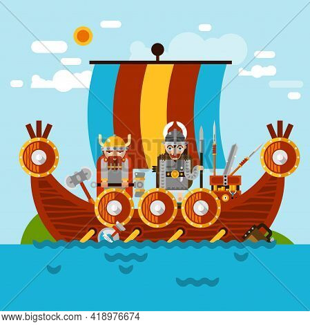 Viking Boat At Sea Background With Viking Army And Treasure Flat Vector Illustration