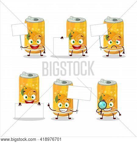 Orange Soda Can Cartoon Character Bring Information Board