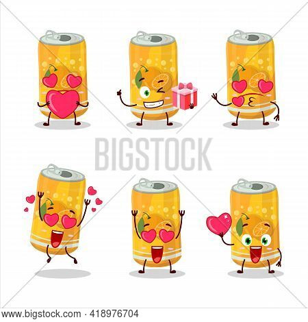 Orange Soda Can Cartoon Character With Love Cute Emoticon