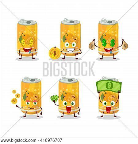 Orange Soda Can Cartoon Character With Cute Emoticon Bring Money