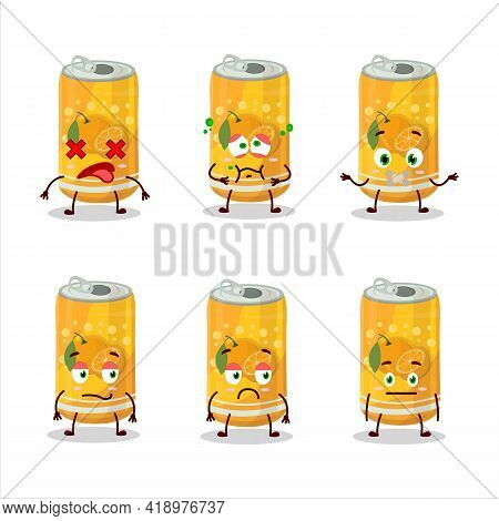Orange Soda Can Cartoon Character With Nope Expression