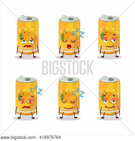 Cartoon Character Of Orange Soda Can With Sleepy Expression