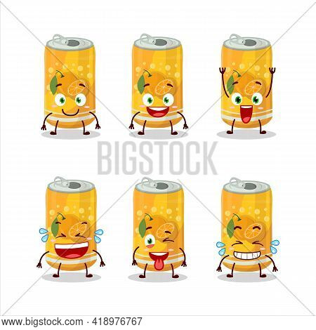 Cartoon Character Of Orange Soda Can With Smile Expression