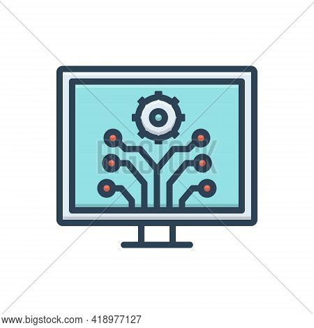 Color Illustration Icon For Development  Innovation  Evolution Progress Advancement Upgrade