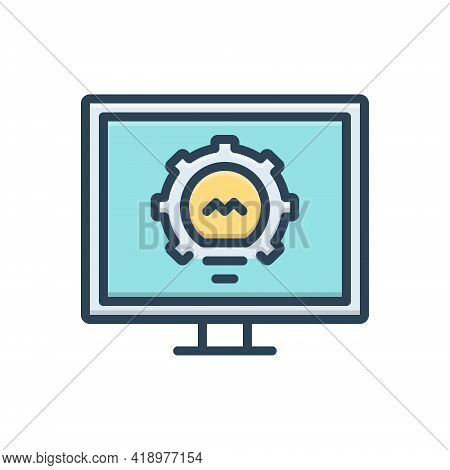 Color Illustration Icon For Monitoring Investigation Inquiry Security Surveillance Controller