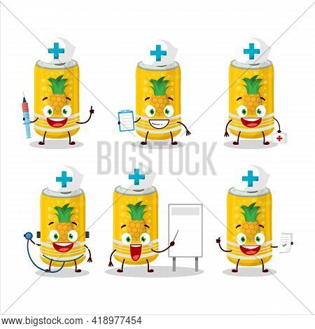 Doctor Profession Emoticon With Pineapple Soda Can Cartoon Character