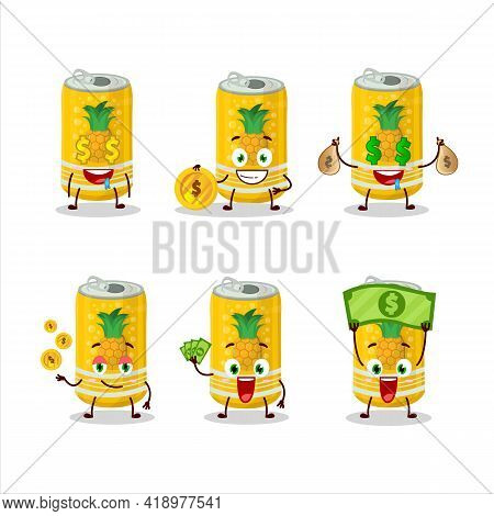 Pineapple Soda Can Cartoon Character With Cute Emoticon Bring Money