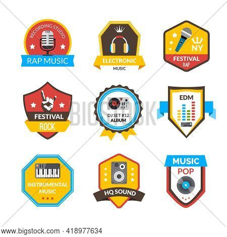 Rap Hip-hop Rock And Other Music Styles Label Set Isolated Vector Illustration