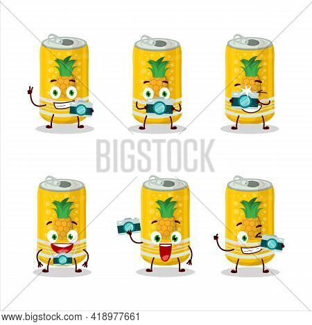 Photographer Profession Emoticon With Pineapple Soda Can Cartoon Character
