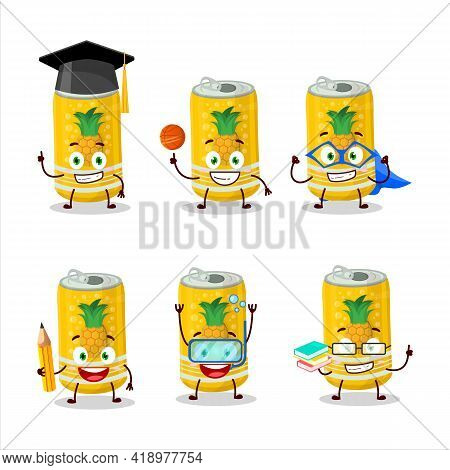 School Student Of Pineapple Soda Can Cartoon Character With Various Expressions
