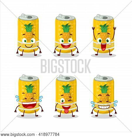 Cartoon Character Of Pineapple Soda Can With Smile Expression