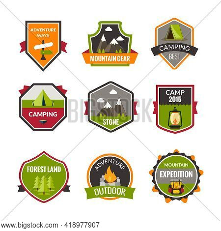 Tourist Mountain Expedition And Camping Label Set Isolated Vector Illustration